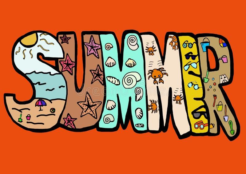 Escrita do verão ilustração stock
