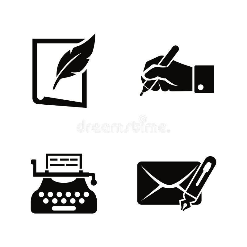 Escrita e datilografia Ícones relacionados simples do vetor ilustração stock
