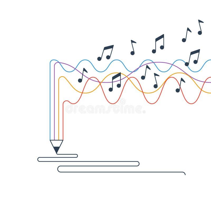 Escrita e narração criativas, conceito da criação da música ilustração royalty free