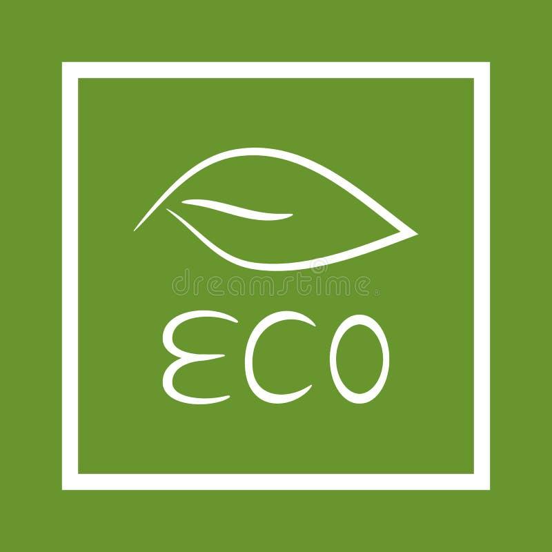 Escrita ECO e folha pintada com uma escova no quadro ilustração do vetor