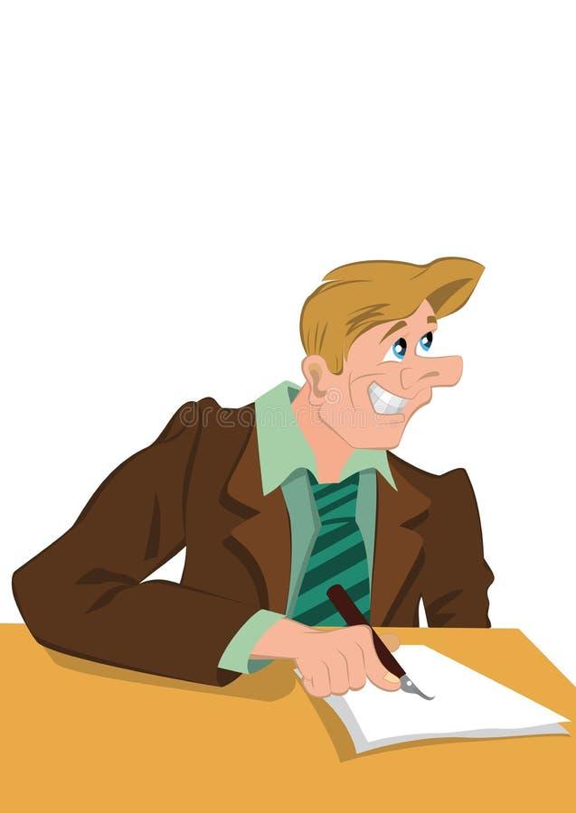 Escrita feliz do homem do moderno retro com sorriso em sua cara ilustração stock