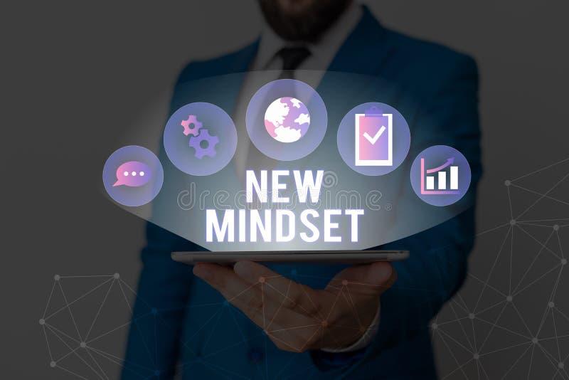 Escrita manual conceitual mostrando o Novo Mindset Fotografia comercial mostrando atitude mental ou disposição Nova abordagem em fotos de stock