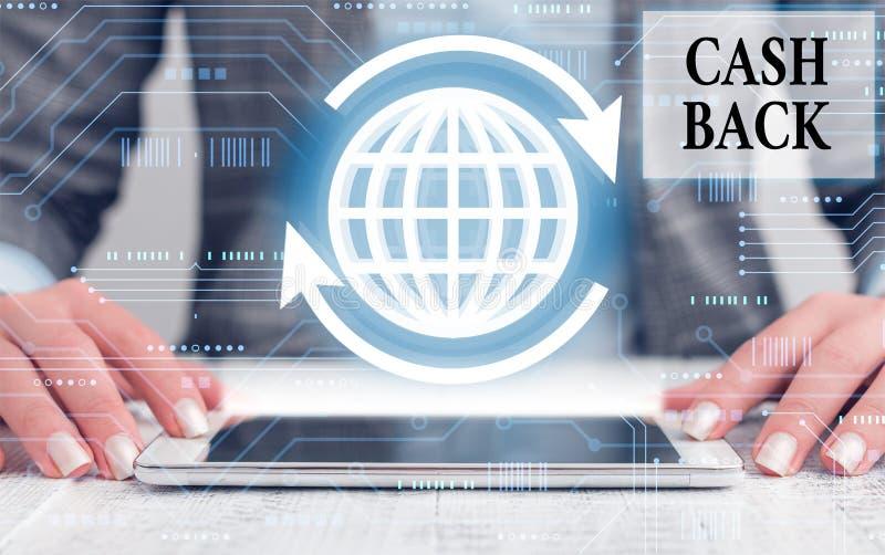 Escrita manual conceptual mostrando Cash Back Demonstração de fotos de negócios que denota uma forma de incentivo oferecida aos c fotografia de stock royalty free