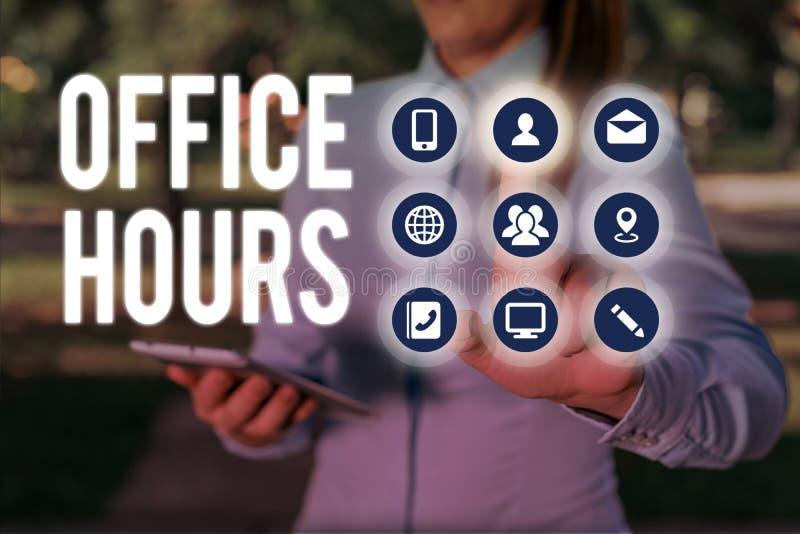 Escrita manual conceptual mostrando Horas de Escritório Texto da foto comercial O horário em que a empresa é conduzida normalment imagens de stock