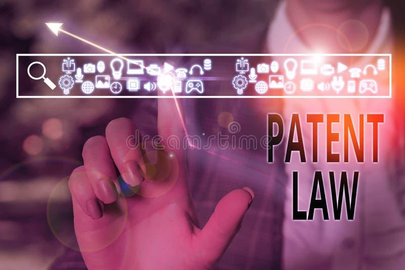 Escrita manual conceptual mostrando a Lei de Patentes O texto de fotos de negócios lida com um inventor é o direito exclusivo de  imagens de stock royalty free
