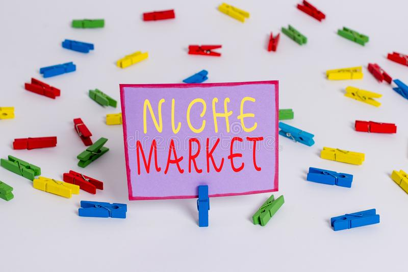 Escrita manual conceptual mostrando Niche Market Texto da foto comercial Subconjunto do mercado no qual o produto específico é imagem de stock royalty free
