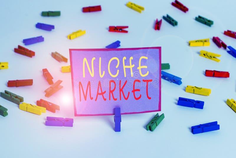 Escrita manual conceptual mostrando Niche Market Texto da foto comercial Subconjunto do mercado no qual o produto específico é imagens de stock royalty free