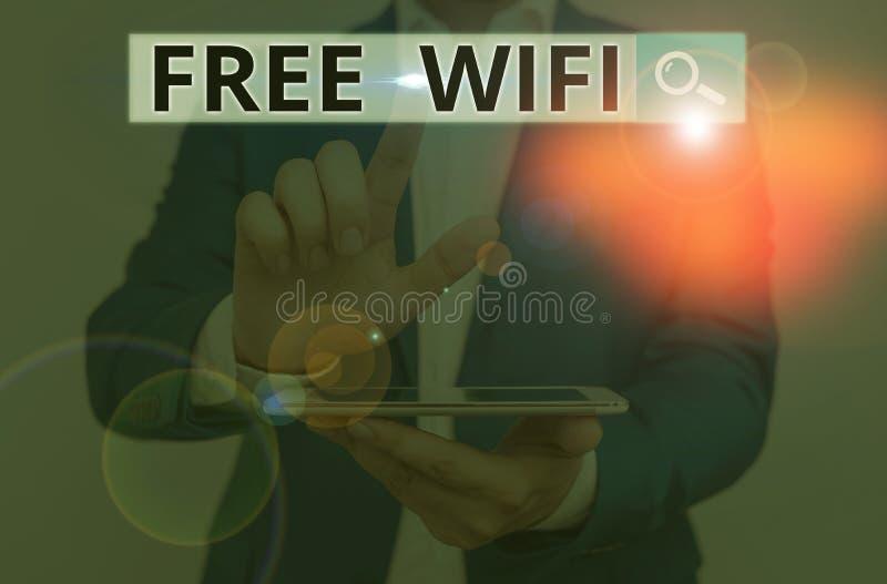 Escrita manual conceptual mostrando Wifi Gratuito A apresentação de fotos de negócios permite que você se conecte à Internet em l fotos de stock