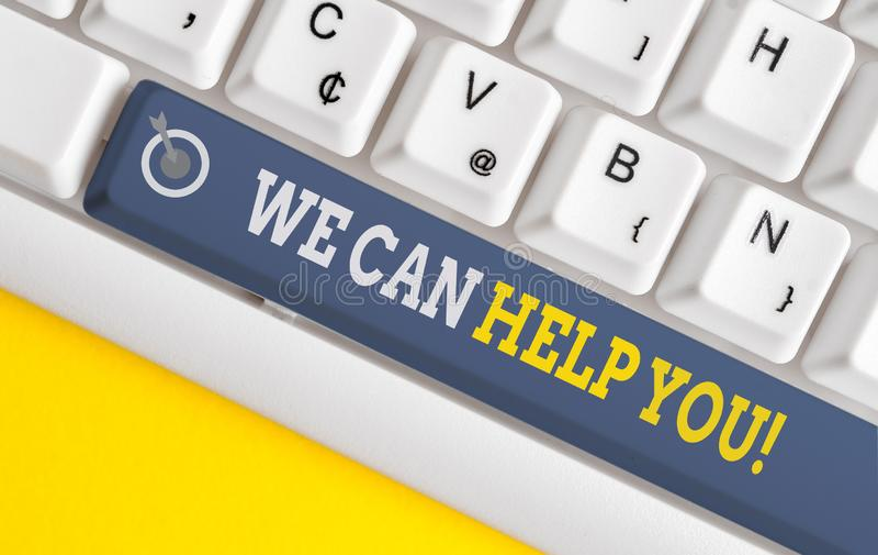 Escrita manual de texto Podemos ajudá-lo Conceito que significa oferecer boa assistência a clientes ou amigos White pc fotografia de stock