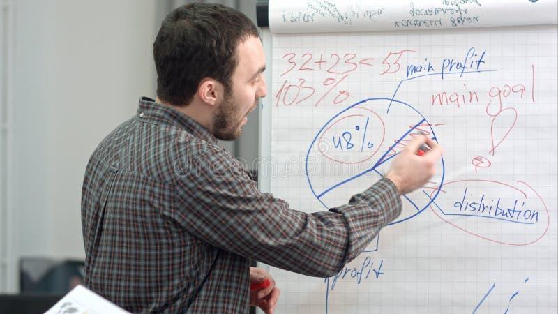 Escrita masculina do trabalhador de escritório em um flipchart com marcador fotos de stock