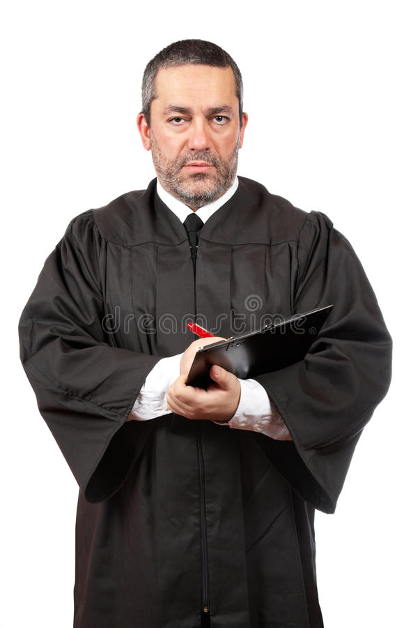 Escrita masculina séria do juiz imagens de stock royalty free