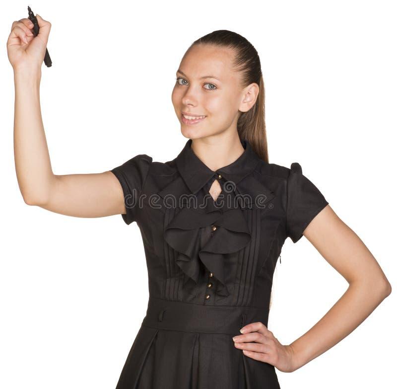 Escrita nova da mulher de negócio com pena Mão no quadril fotografia de stock royalty free