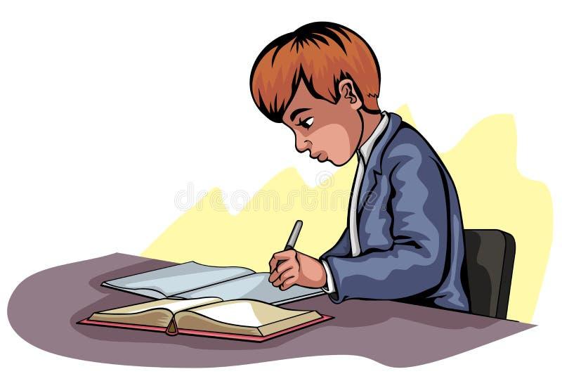 Escrita nova do menino ilustração stock
