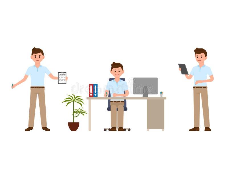 A escrita nova do trabalhador de escritório nota o personagem de banda desenhada Vector a ilustração do assento feliz do caixeiro ilustração do vetor