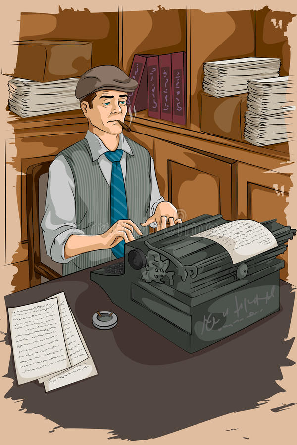 Escrita retro do homem com máquina de escrever ilustração do vetor