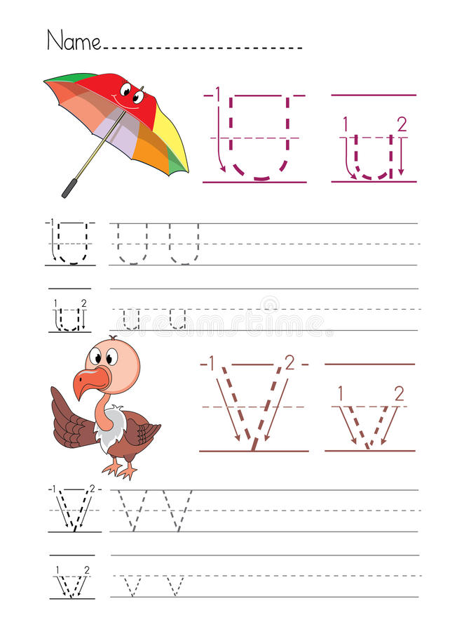 Escrita U V do alfabeto imagens de stock royalty free