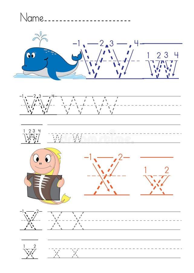 Escrita W X do alfabeto imagem de stock