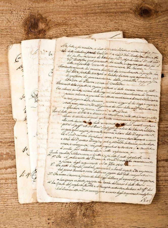 Escritas antigas da mão foto de stock