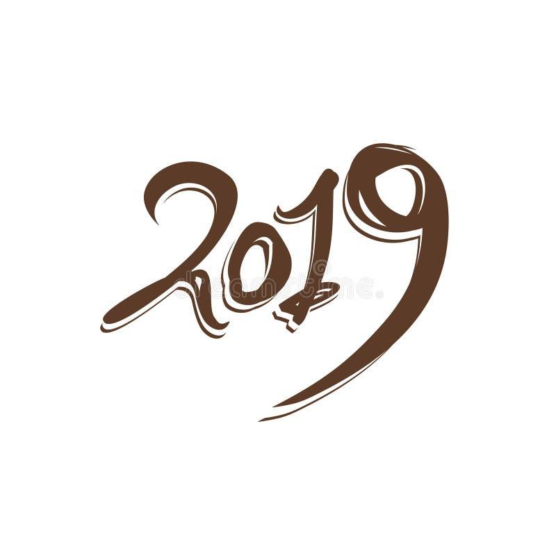 2019 escrito à mão pelo ano novo ilustração stock