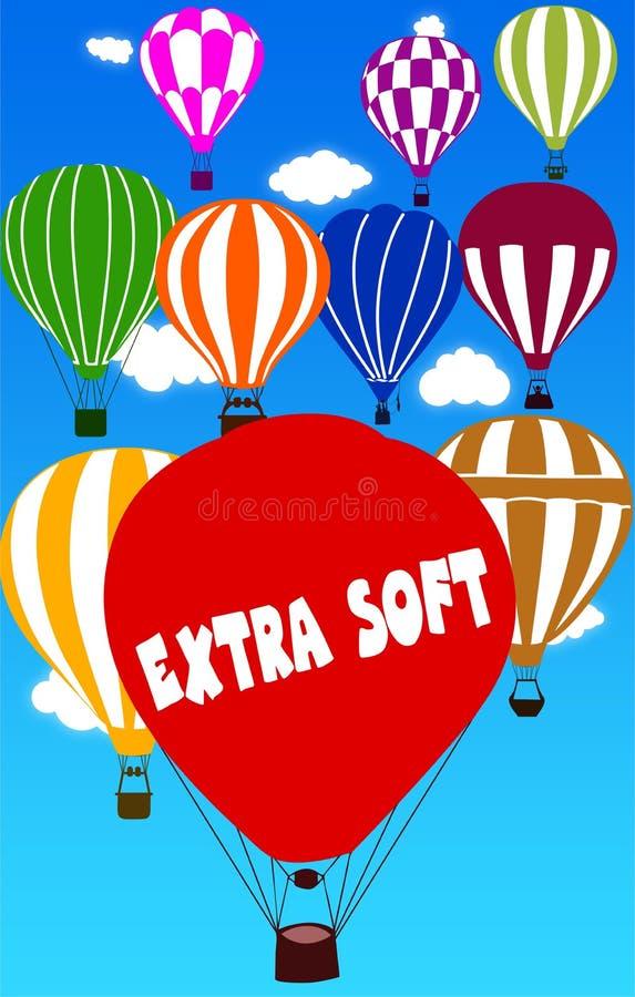 Escrito EXTREMAMENTE BRANDAMENTE no balão de ar quente com um fundo do céu azul ilustração royalty free