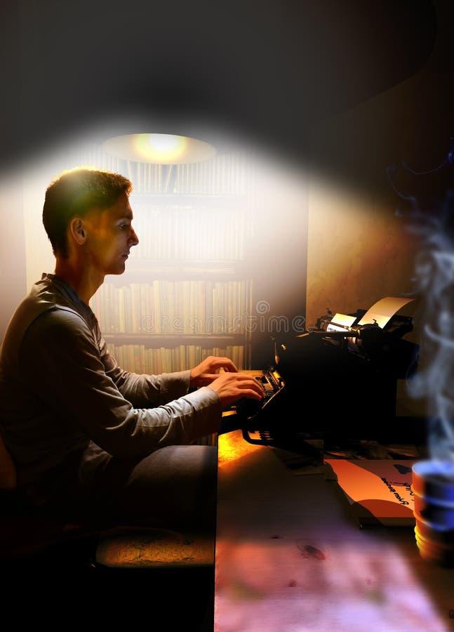 Escritor bajo luz ilustración del vector
