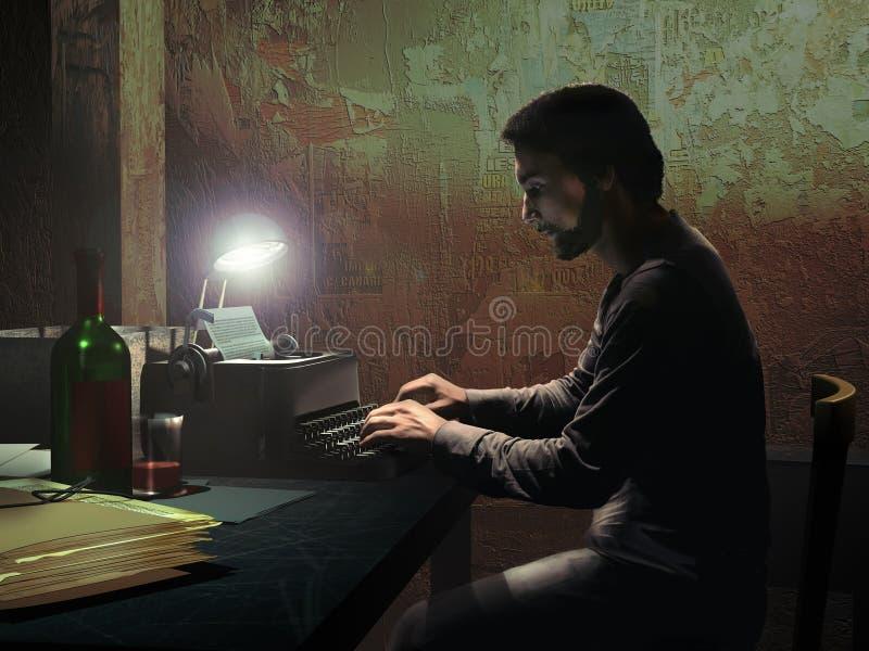 Escritor en la oscuridad ilustración del vector