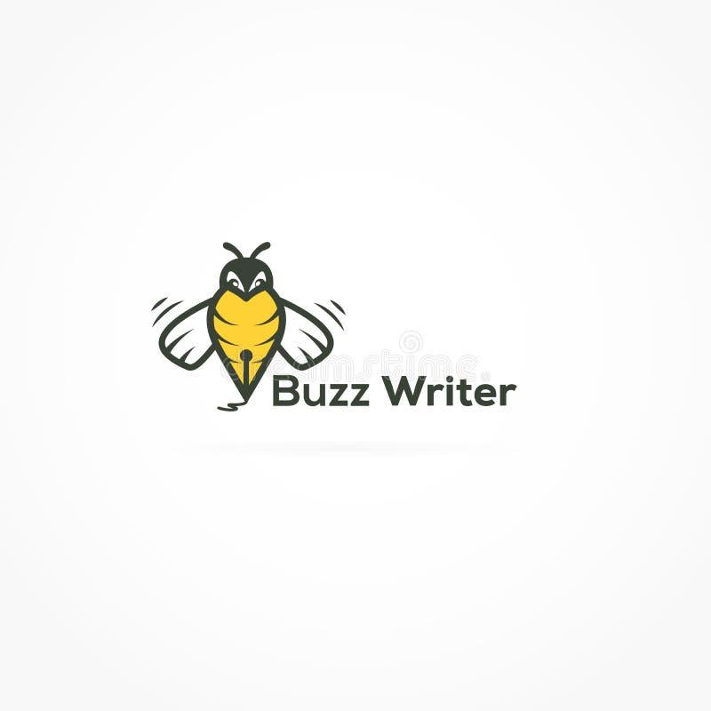 Escritor Logo Design da abelha ilustração do vetor