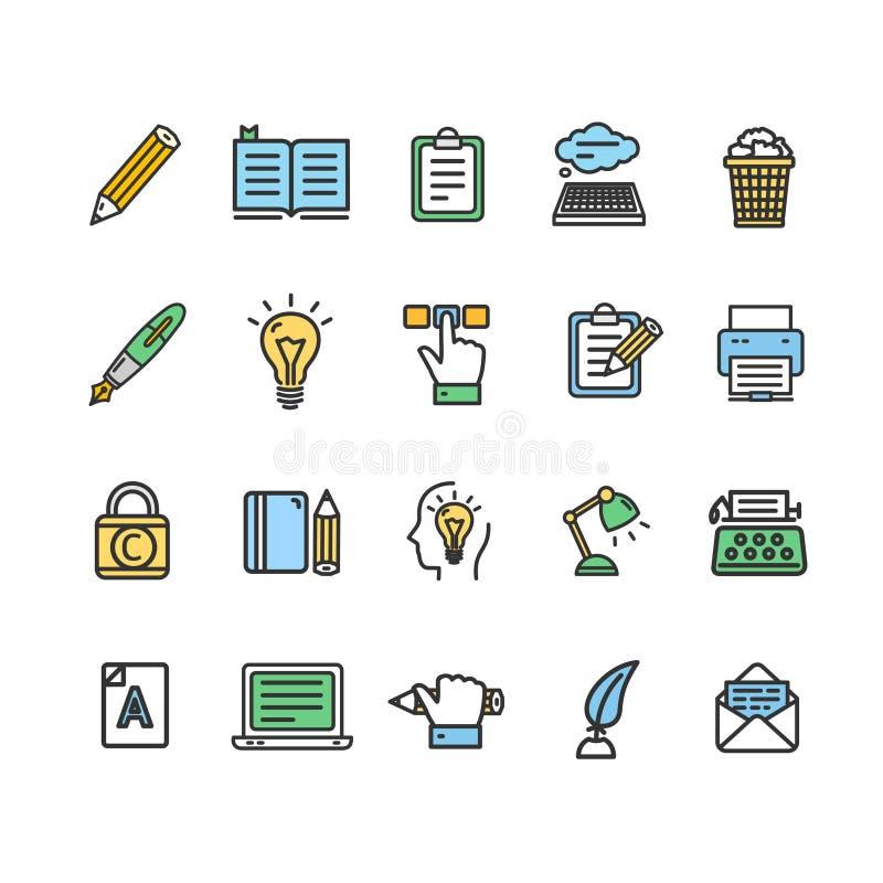 Escritor y línea fina sistema del color de las muestras de Copywriting del icono Vector ilustración del vector