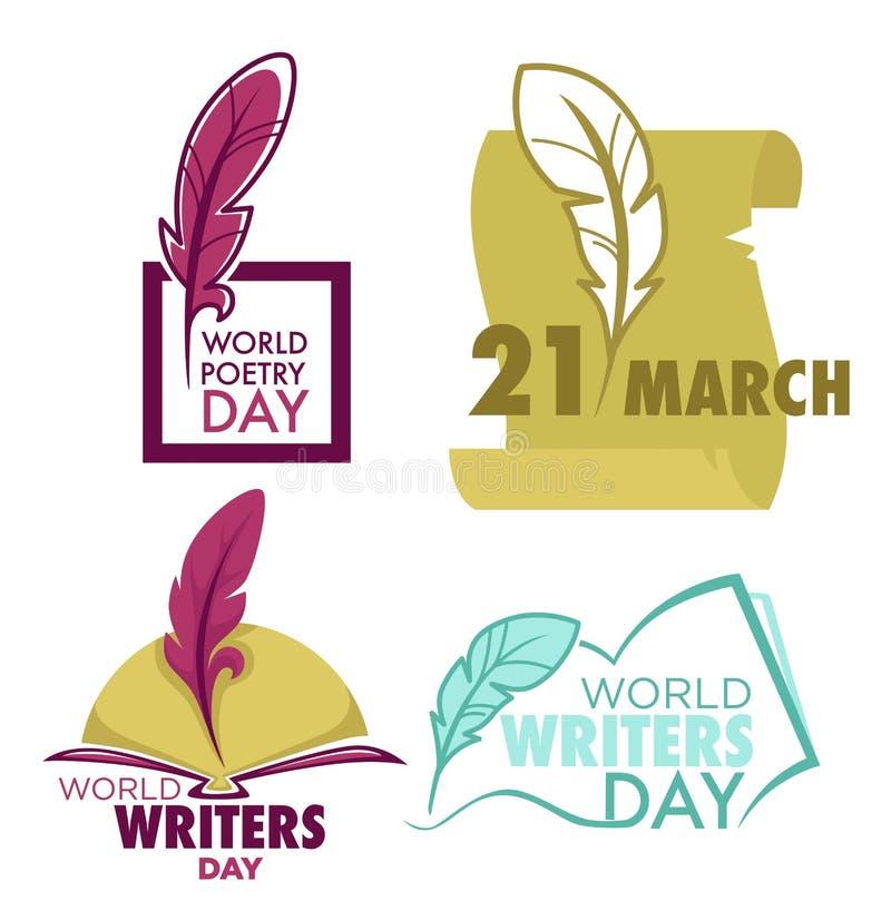 Escritores e vetor isolado dia da pena e do livro do ícone da poesia ilustração do vetor