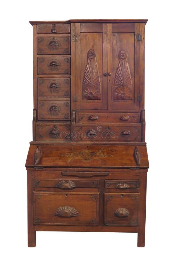 Escritorio antiguo de la cómoda con patas altas aislado fotografía de archivo libre de regalías