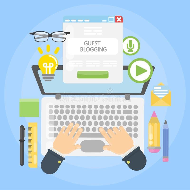 Escritorio blogging de la huésped libre illustration