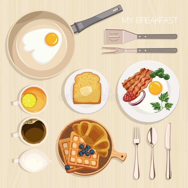Escritorio con la cacerola, el tocino y los huevos, tostada, mantequilla, habas verdes stock de ilustración