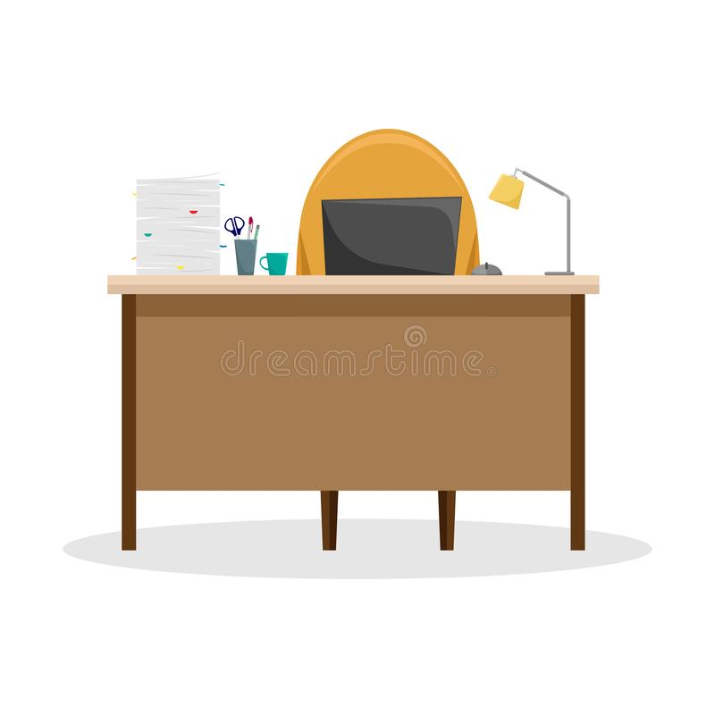 Escritorio con una lámpara, una pila de papeles y un ordenador portátil ilustración del vector