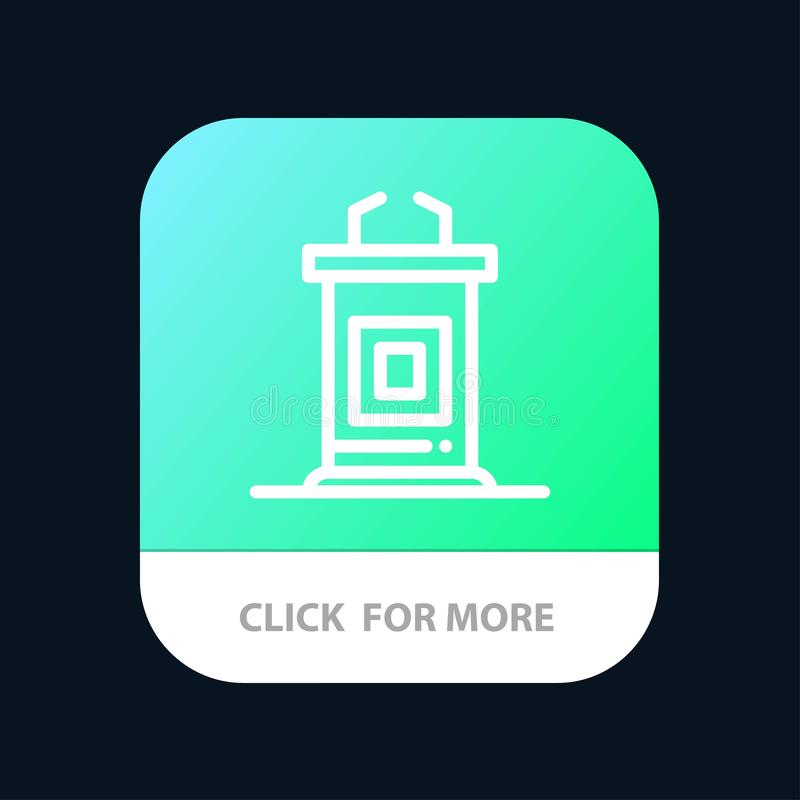 Escritorio, conferencia, reunión, profesor Mobile App Button Android y línea versión del IOS ilustración del vector