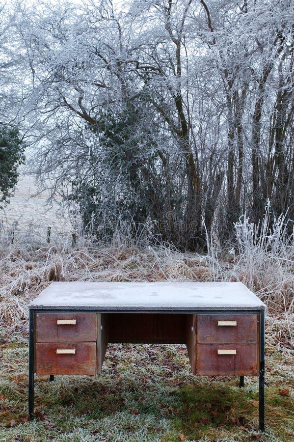 Escritorio congelado fotografía de archivo