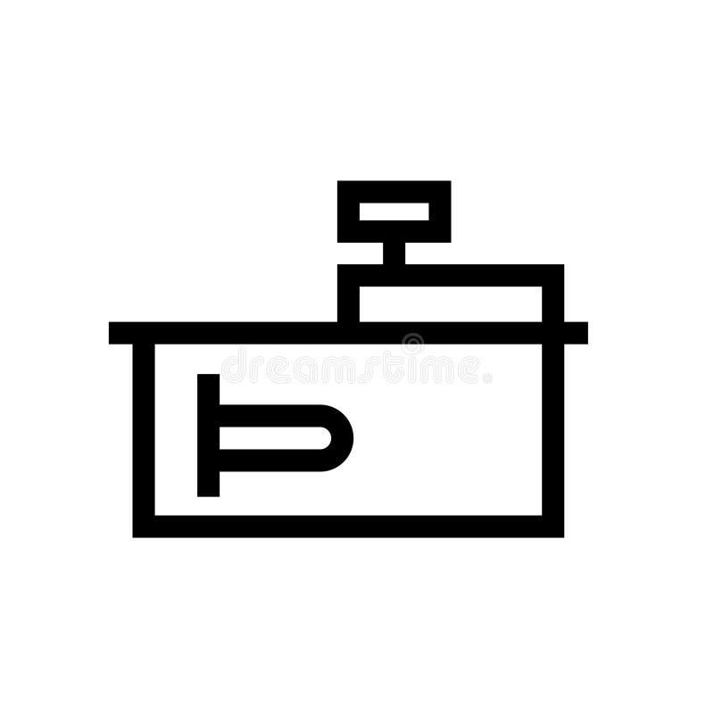 Escritorio de efectivo con el icono terminal del esquema stock de ilustración