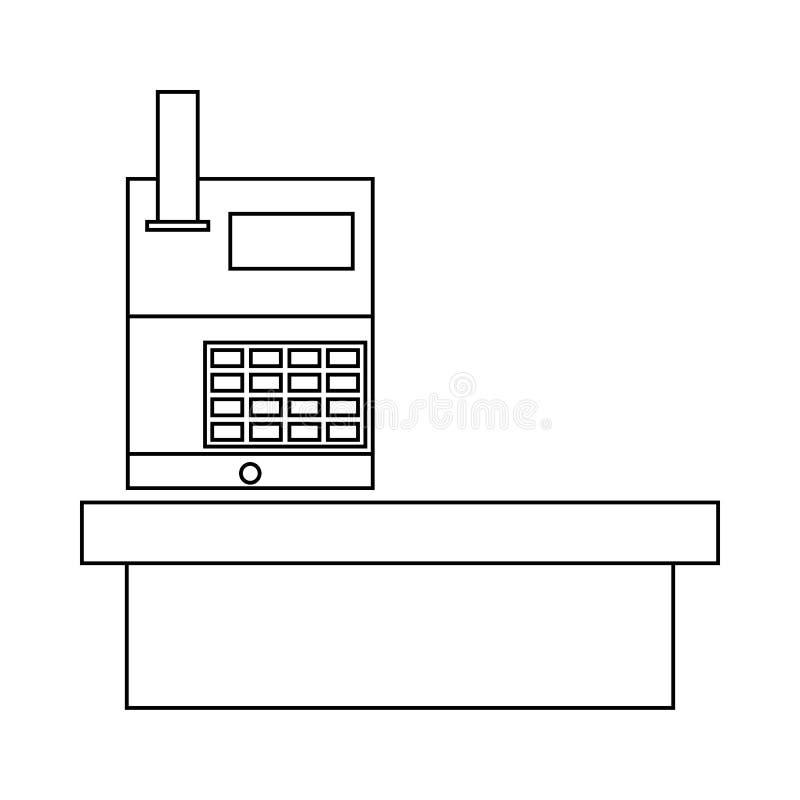 Escritorio de efectivo en el icono del supermercado, estilo del esquema ilustración del vector