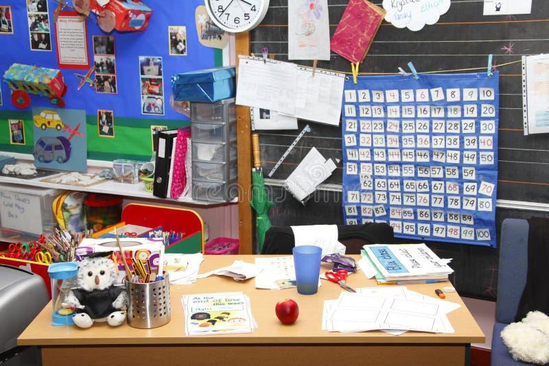 Escritorio de la sala de clase de los profesores de escuela imagen de archivo