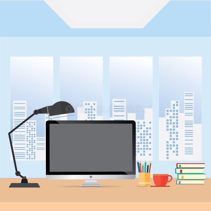 Escritorio de la tabla de la oficina con la mesa, concepto del negocio stock de ilustración