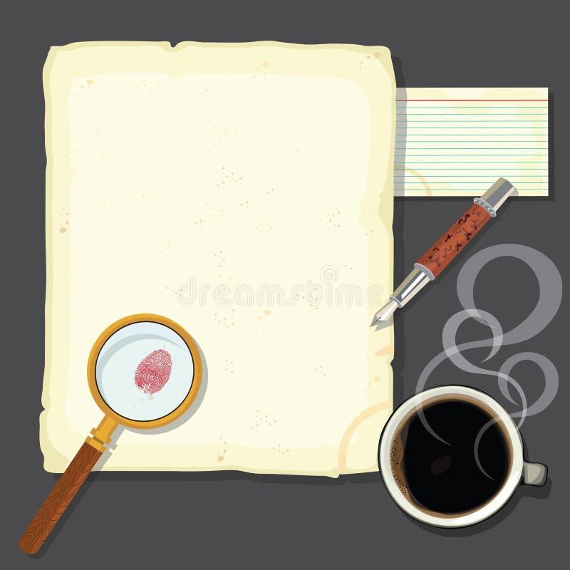 Escritorio de los detectives del misterio de asesinato con tratar el coffe con vapor libre illustration