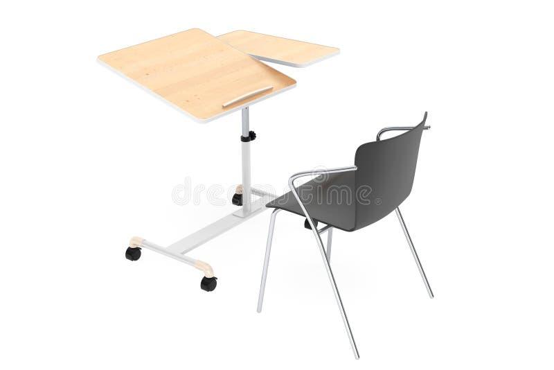Escritorio de madera del ordenador portátil de la escuela, del hogar y de la oficina con la silla libre illustration