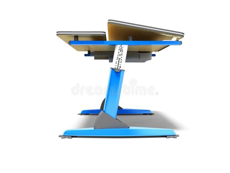 Escritorio de madera de la escuela azul con el metal que ajusta las piernas 3d para rendir en el fondo blanco con la sombra stock de ilustración