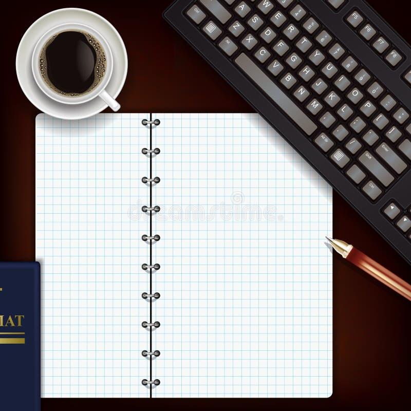 Escritorio de oficina con la libreta ilustración del vector