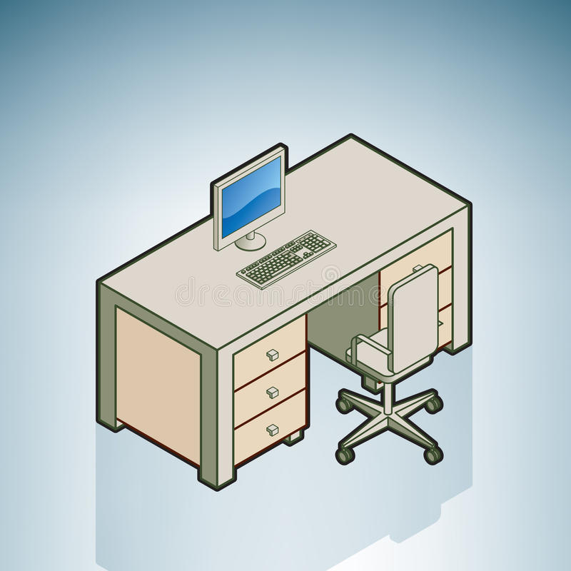 Escritorio de oficina con la silla stock de ilustración