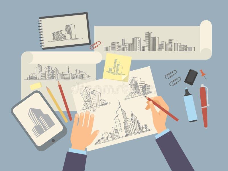Escritorio de trabajo del diseñador del arquitecto con el projec arquitectónico stock de ilustración