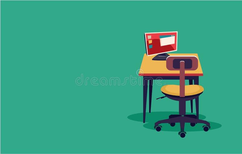 Escritorio de trabajo del ordenador stock de ilustración