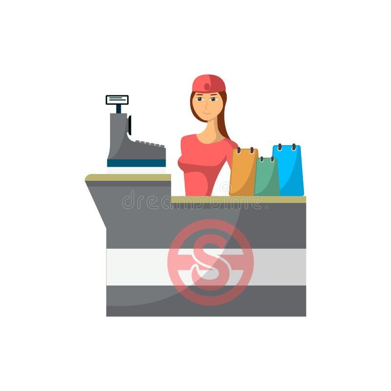 Escritorio del contador de la tienda del supermercado con el icono del cajero libre illustration
