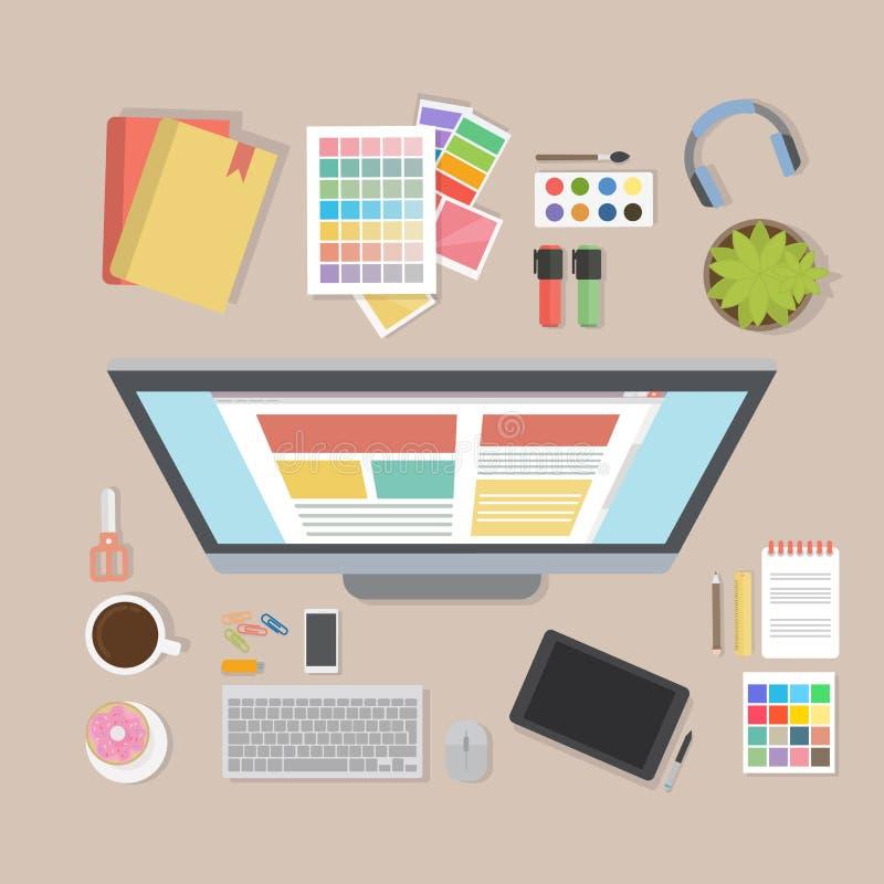 Escritorio del diseñador web libre illustration