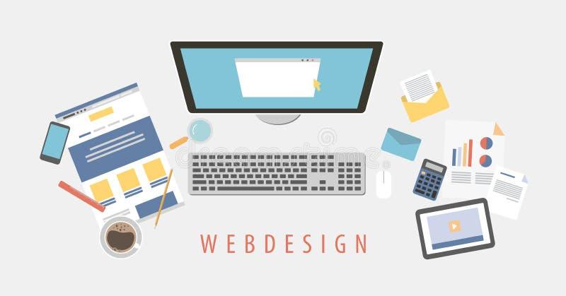 Escritorio del diseño web stock de ilustración