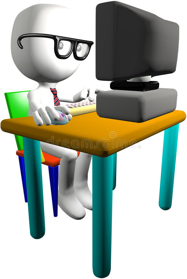 Escritorio del monitor de la PC del utilizador 3D del ordenador del genio del empollón libre illustration